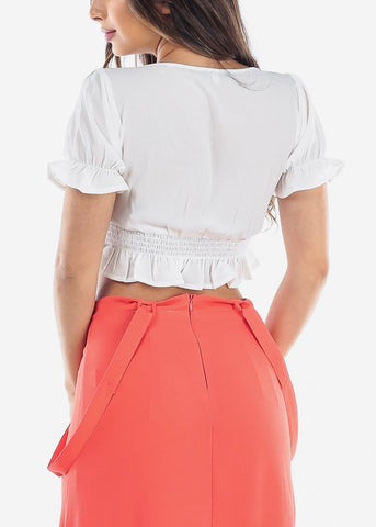 Image of Low Cut Short Sleeved White Crop Top