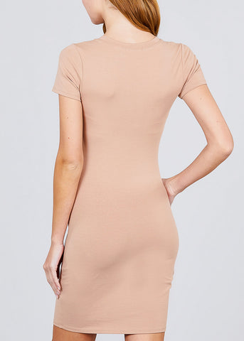 Image of Khaki Bodycon Mini Dress