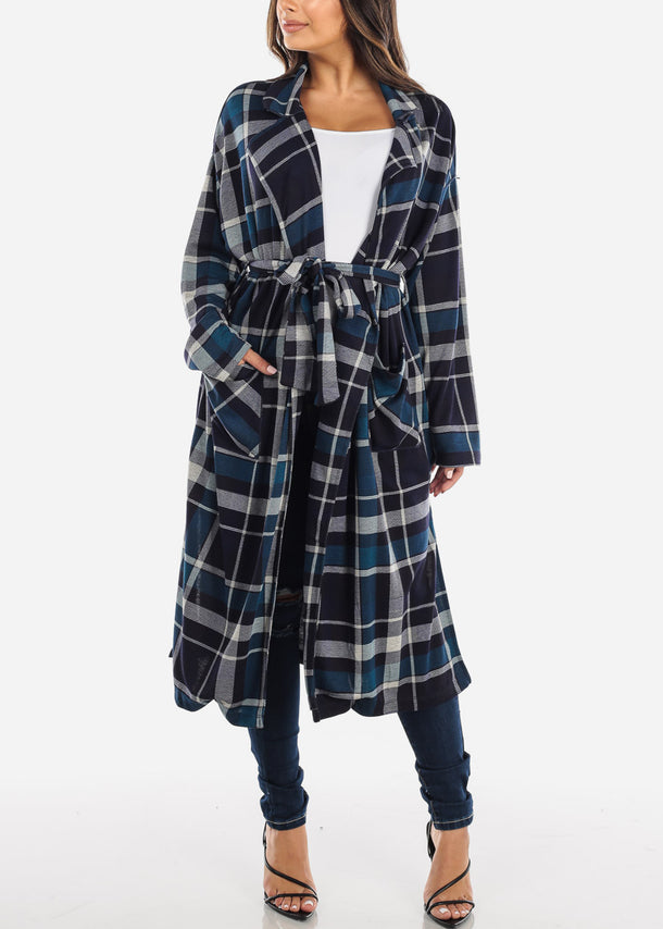 Navy Plaid Belted Trench Cardigan