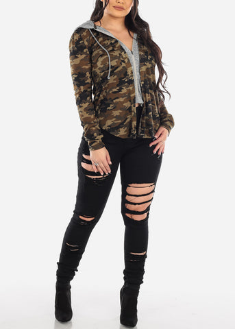 Image of Camouflage Zip Up Hooded Shirt