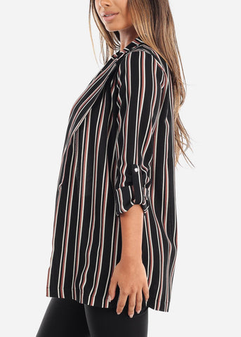 Image of 3/4 Sleeve Long Striped Black Blazer