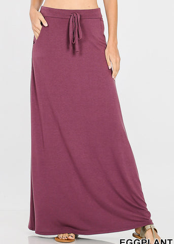 Image of Draw String Waist Egg Plant Maxi Skirt