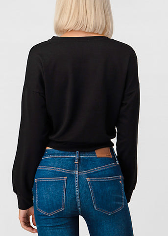 Image of Long Sleeve Black Pullover Top