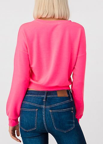 Long Sleeve Neon Pink Pullover Top