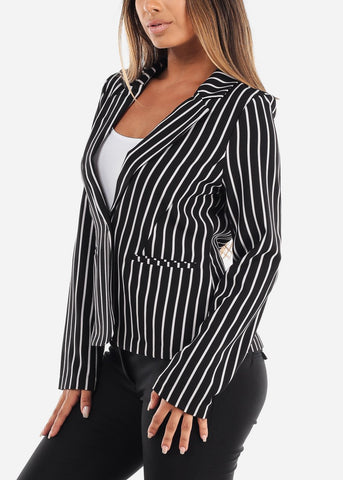 Image of One Button Black Striped Blazer