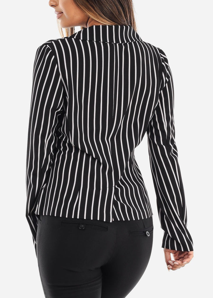 One Button Black Striped Blazer