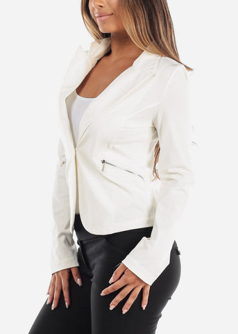 Image of One Button White Blazer with Zipper Pockets