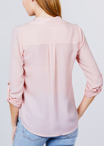 Image of Zipper Detail Rose Button Up Shirt