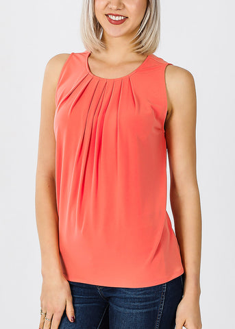 Sleeveless Coral Pleat Top