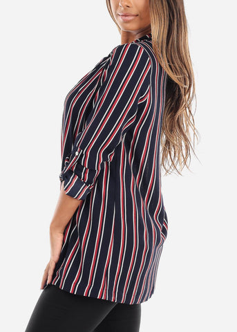 Image of 3/4 Sleeve Long Striped Navy Blazer