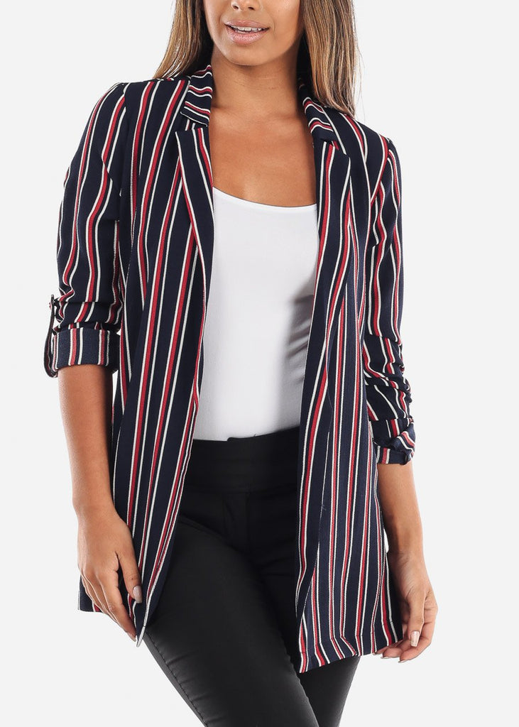 Striped Navy Blazer