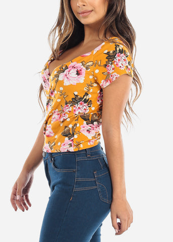 Wrap Front Floral Mustard Top