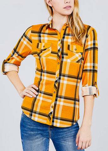 Image of Plaid Mustard Button Up Shirt