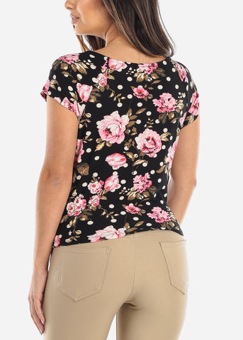 Image of Wrap Front Floral Black Top