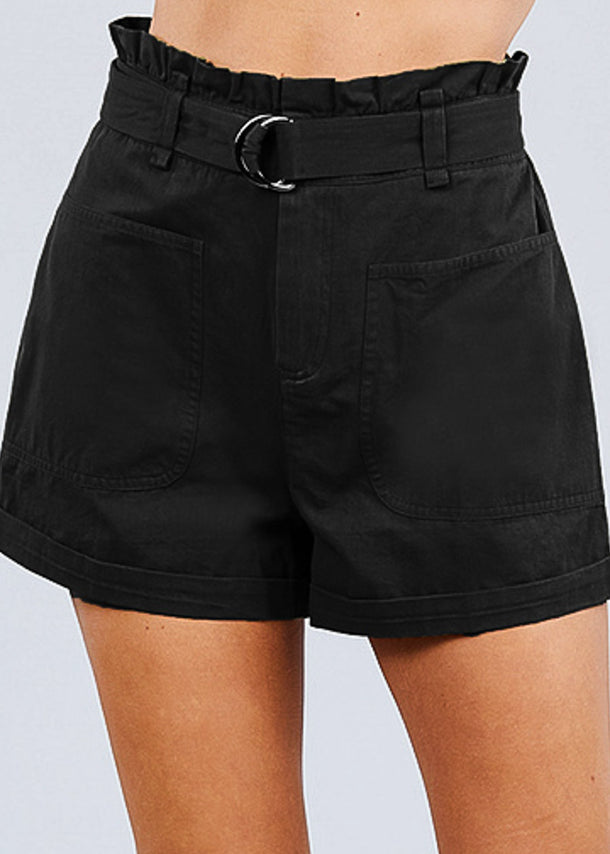 Cotton Paperbag Black Shorts