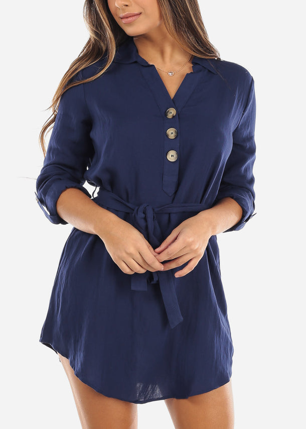Navy Half Button Belted Shirt Dress