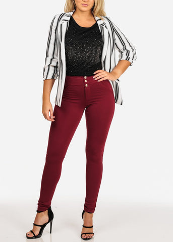 Image of 3/4 Sleeve Black and White Striped Blazer