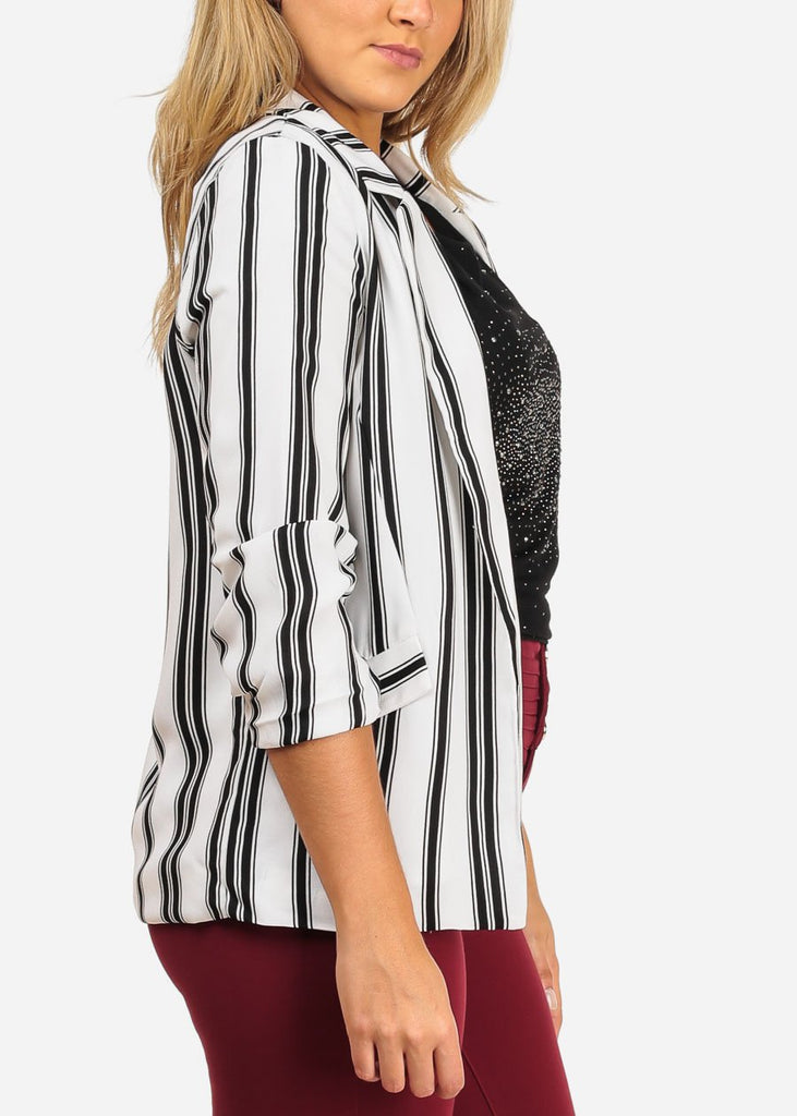3/4 Sleeve Black and White Striped Blazer
