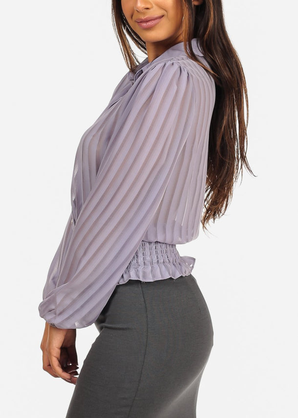 See Through Classy Stripe Lavender Top