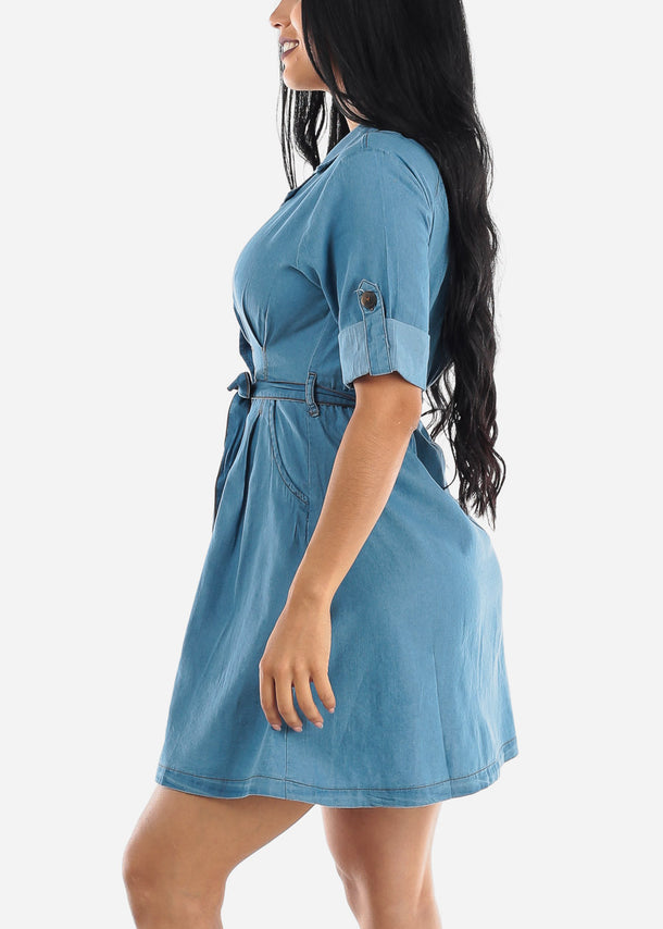 Casual Light Wash Denim Dress