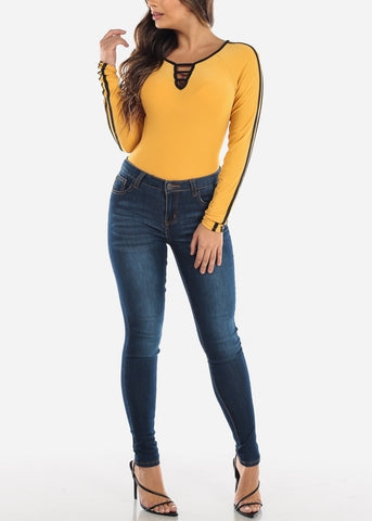 Strappy Chest Mustard Long Sleeve Top