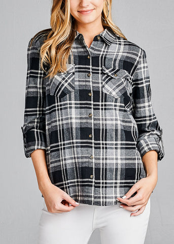 Cotton Plaid Button Up Black Shirt