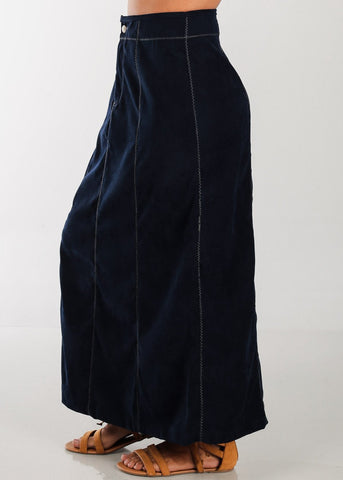 Image of 1 Button Zip Up High Waisted Long Navy Maxi Skirt For Women Ladies Junior On Sale Fashionable New 2019