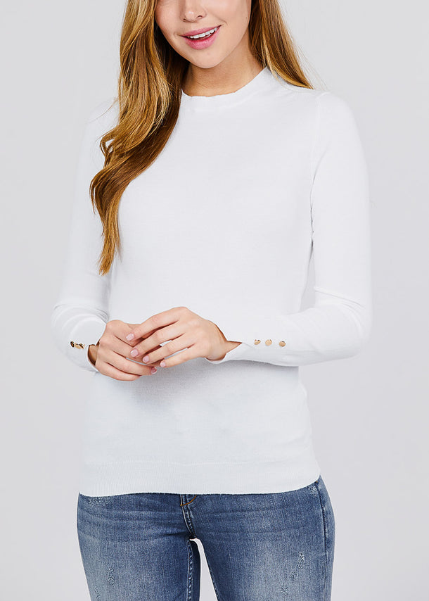 Long Sleeve White Crewneck Pullover