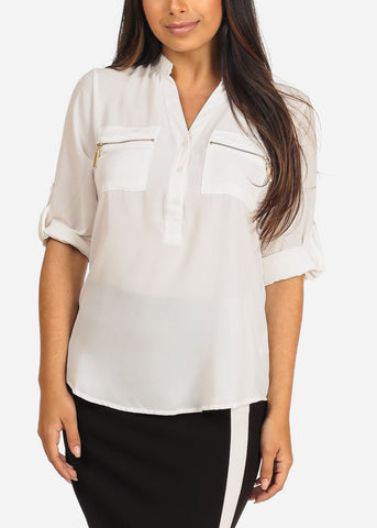 Image of Women's Junior Ladies Stylish Lightweight Solid White 3/4 Roll Up Sleeve Dressy Lightweight Blouse Tunic Top