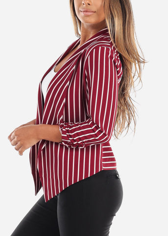 Red and White Striped Open Blazer