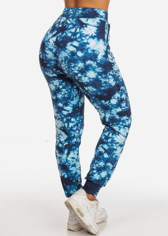 Casual Tie Dye High Waisted Work Out Stretchy Jogging Blue Jogger Pants