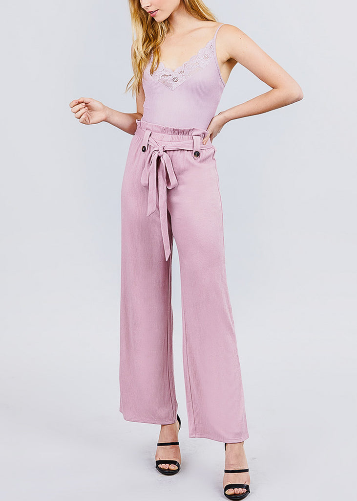 High Waisted Belted Mauve Pants
