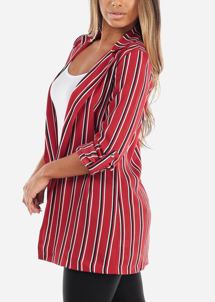 3/4 Sleeve Red Striped Long Blazer