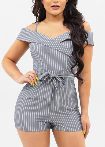 Image of Women's Junior Ladies Sexy Must Have Summer Vacation Going Out Cold Shoulder Navy Denim Stripe Tie Belt Romper
