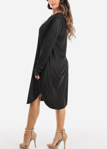 Casual Oversized Lace Up Dress