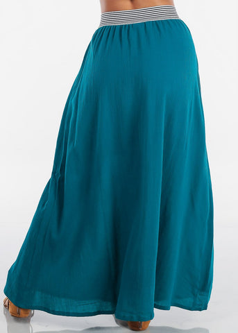 Stylish Teal Maxi Skirt