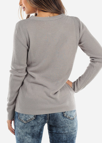 Image of Grey Ribbed Sweater 414BGRY