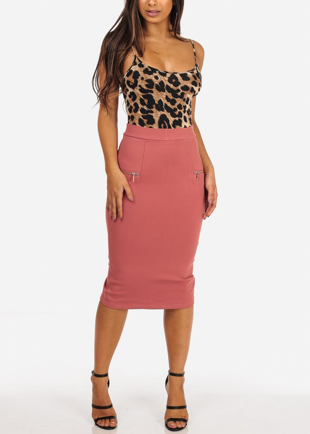 Zippered Salmon Pencil Skirt