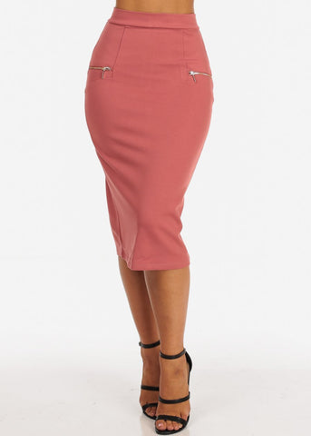 High Rise Zipper Insets Mauve Pencil Skirt