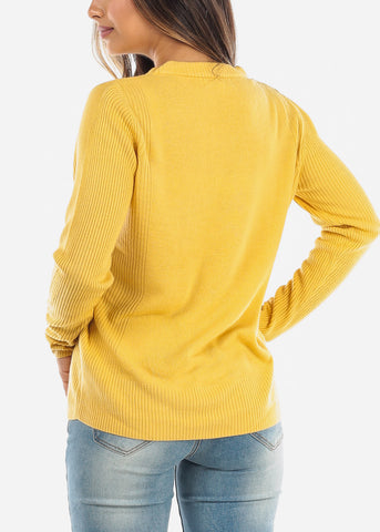 Yellow Ribbed Sweater 414BYLLW