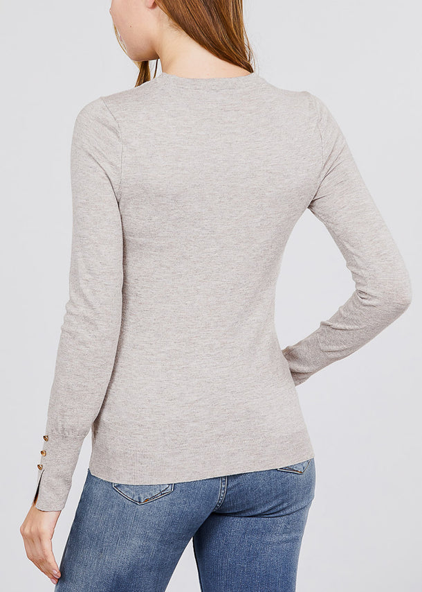 Long Sleeve Heather Taupe Crewneck Pullover