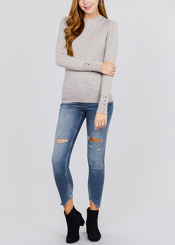 Image of Long Sleeve Heather Taupe Crewneck Pullover