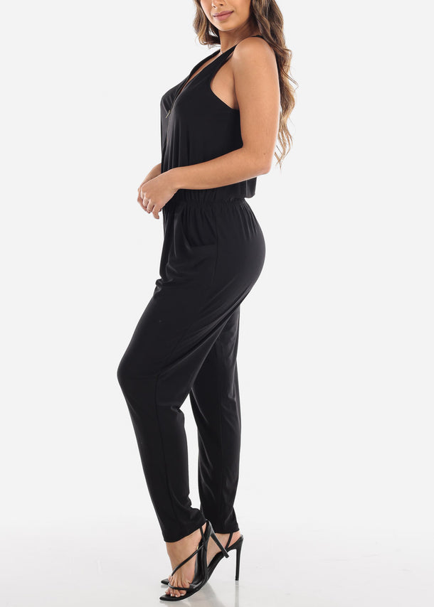 Zip Up Front Sleeveless Black Jumpsuit