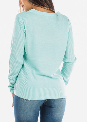 Mint Ribbed Sweater 414BMINT