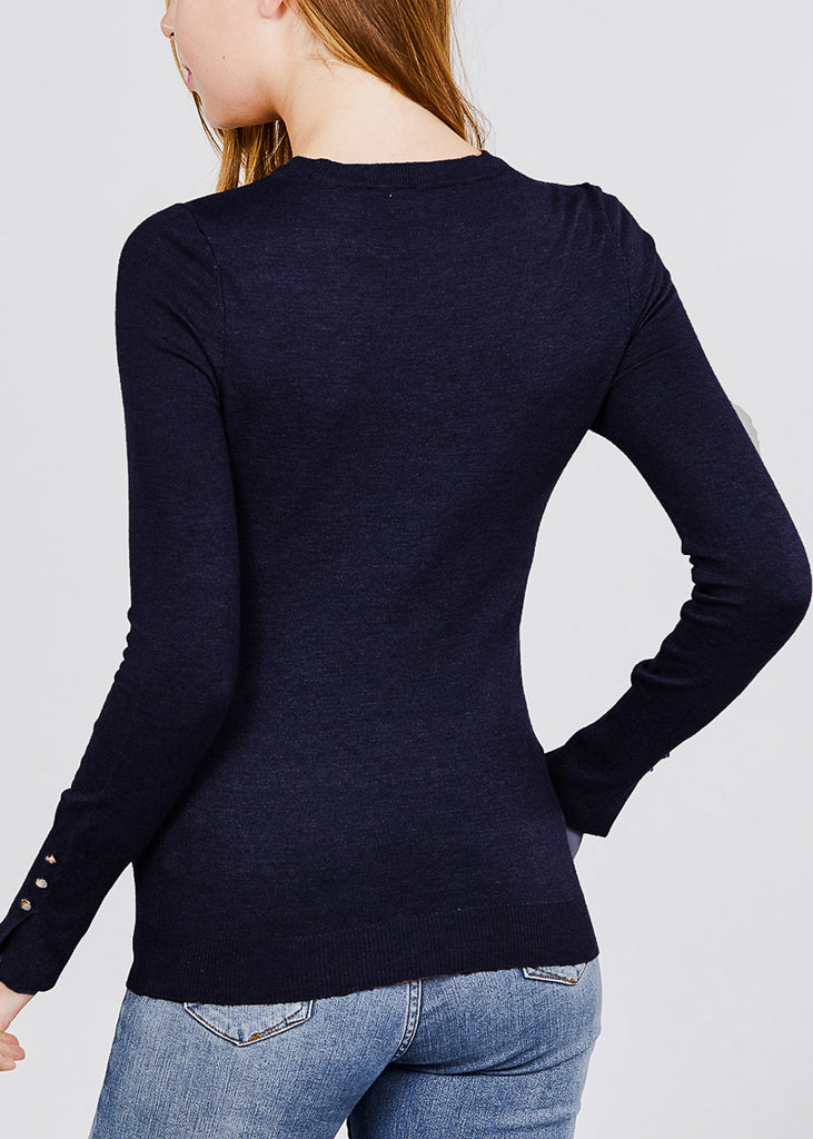 Long Sleeve Navy Crewneck Pullover