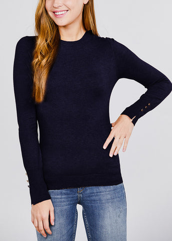 Image of Long Sleeve Navy Crewneck Pullover