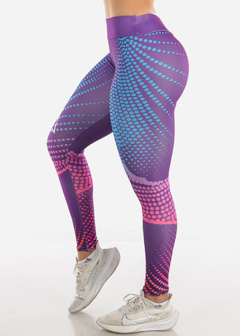 Image of Activewear Printed Purple Leggings