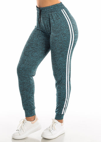 Drawstring Heather Teal Jogger Pants