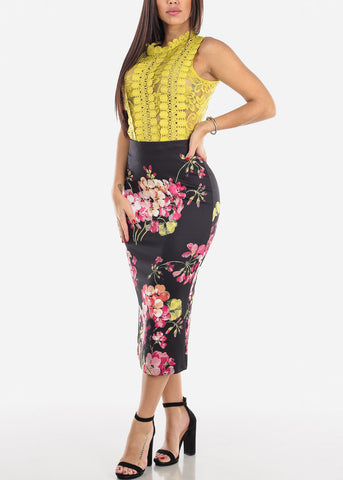 Black Floral High Waist Pencil Skirt