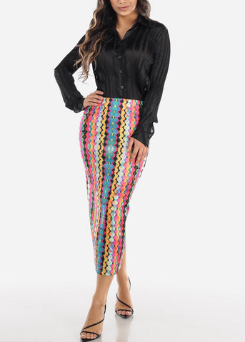 Image of Multicolor Geo Print High Waist Pencil Skirt